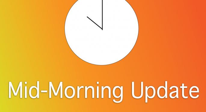 Mid-Morning Market Update: Markets Heading Down, Dendreon Rockets Upwards