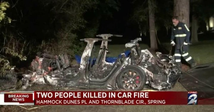 Self-Driving Tesla Crashes In Fiery Wreck, Suggesting Tesla's Self-Driving Capability Still Needs Work