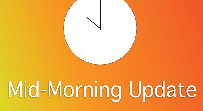 Mid-Morning Market Update: Markets Rising, Hewlett Packard Earnings Top Estimates