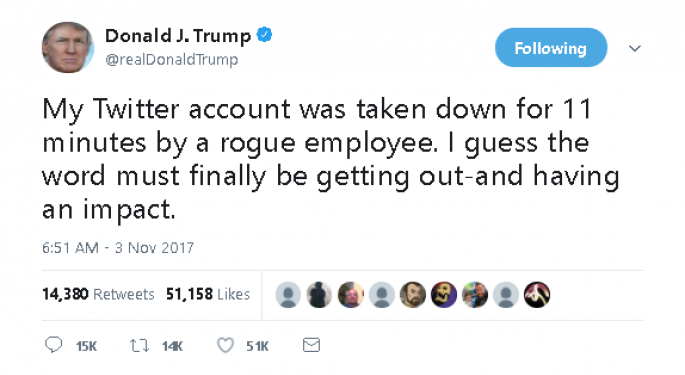 President Trump's Twitter Account Suspended For 11 Minutes