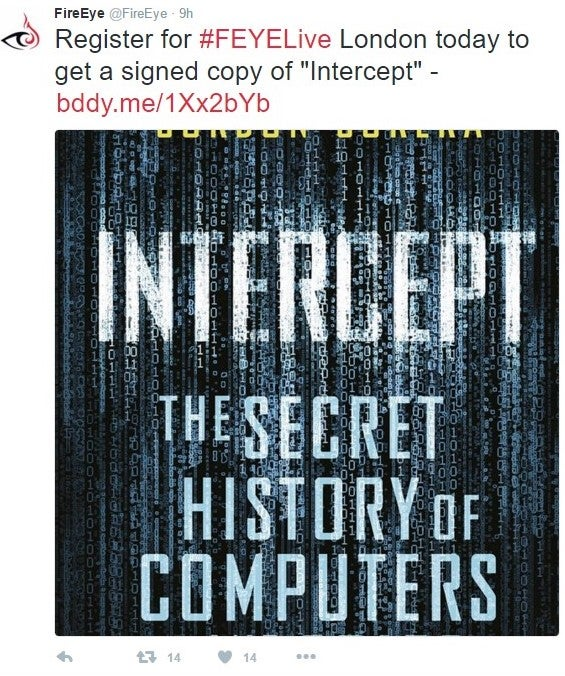 """Register for #FEYELive London today and get a signed copy of """"Intercept"""""""
