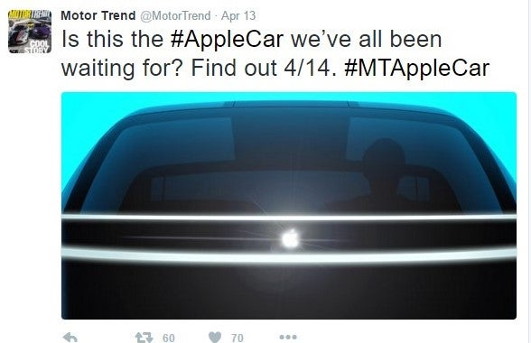 Is this the #AppleCar we've all been waiting for? Find out 4/14. #MTAppleCar