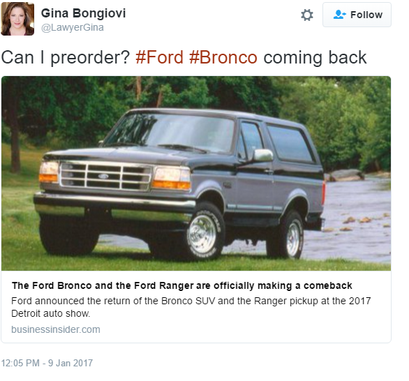 The inevitable O.J. comments are flowing as well after Mondayu0027s announcement. u201cDeja vu all over again. Ford Bronco and Rangeru201d @detroit1051 tweeted.  sc 1 st  Benzinga & Ford Bronco Returns To The Wild In 2020; Inevitable O.J. Jokes ... markmcfarlin.com