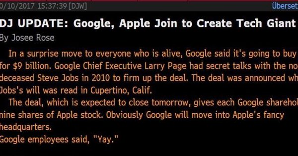 Dow Jones Newswire Sends False Google-Apple Merger Story; DJ Calls It 'Technical Error'